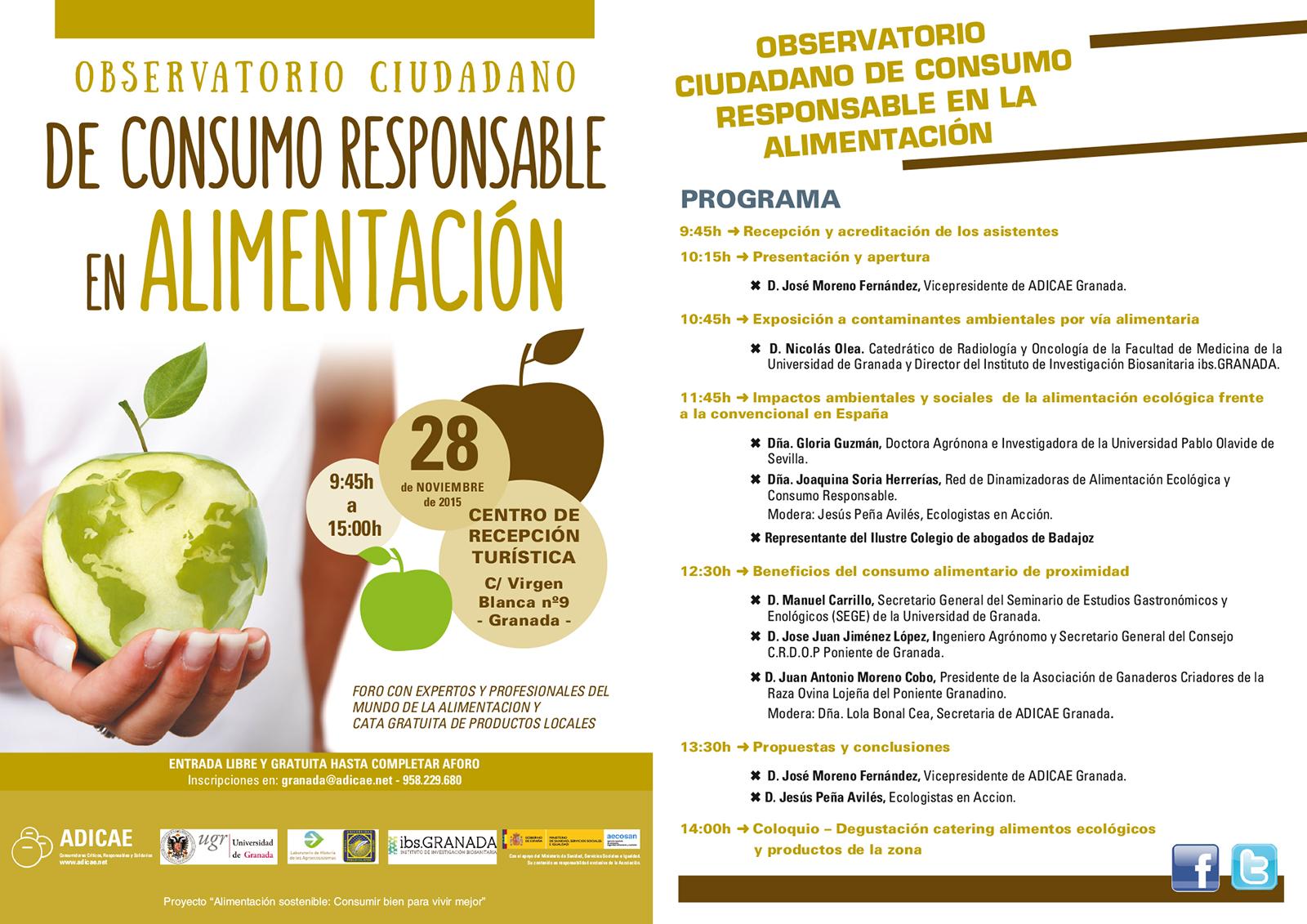 Consulta el programa de la próxima jornada que celebraremos en la provincia de Granada sobre el Consumo Responsable en la Alimentación.