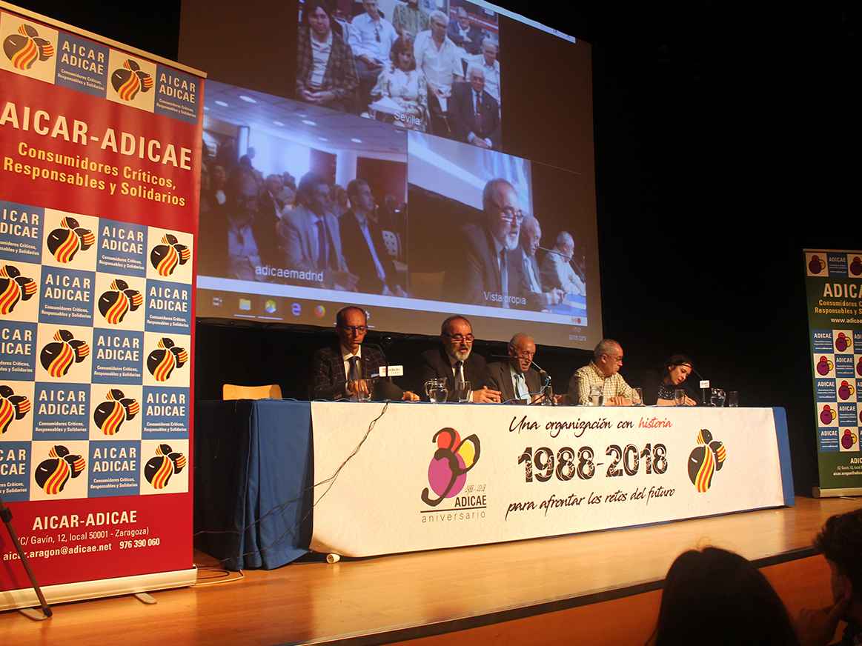 En el año del 30 aniversario de la fundación de AICAR-ADICAE, el acto central de celebración tuvo en el Centro Joaquín Roncal de Zaragoza y contó con la participación a distancia de todas las sedes de ADICAE.